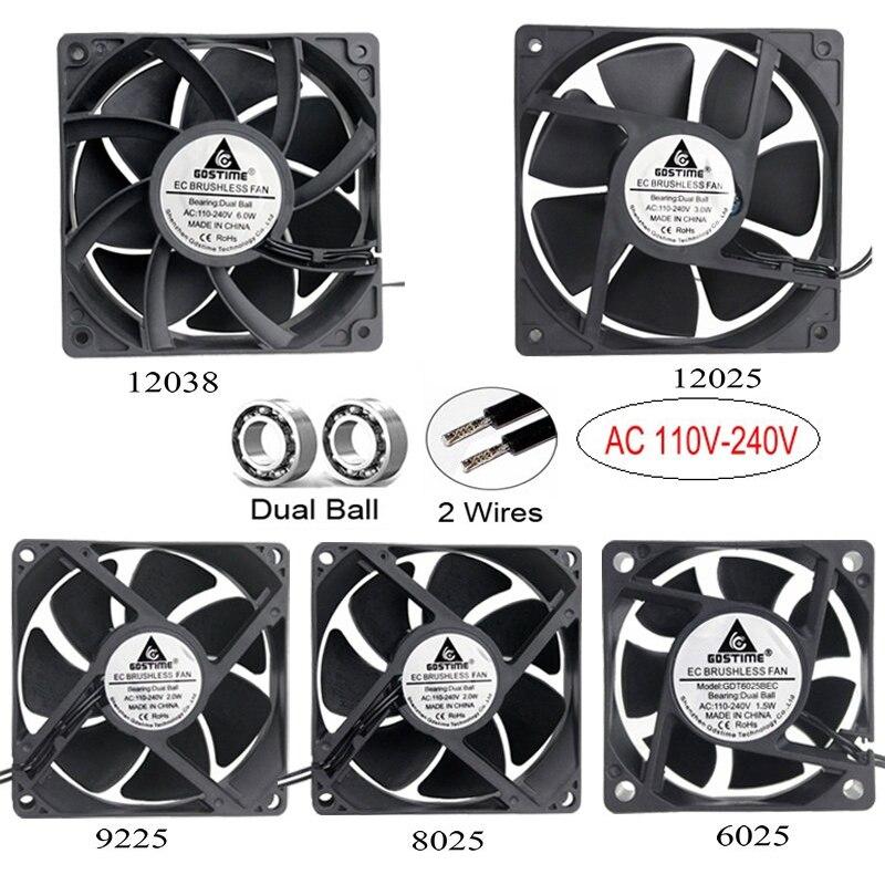 1pcs Gdstime AC 110V 115V 120V 220V 240V 2Pin Dual Ball Bearing EC Brushless Cooling Fan 80mm x 25mm 92mm 120mm 60