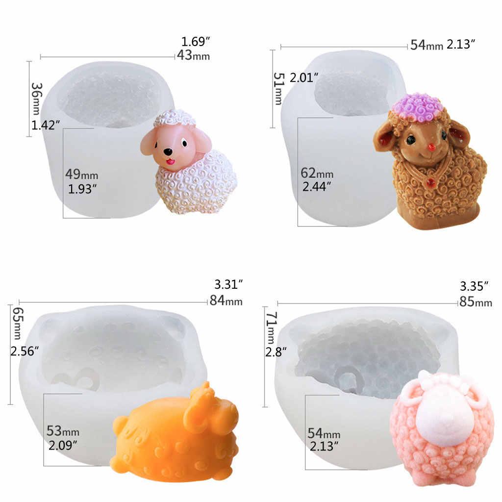 Mydło wyrabiane ręcznie formy 3D owiec brelok do kluczy z ozdobą forma silikonowa do żywicy biżuteria narzędzia