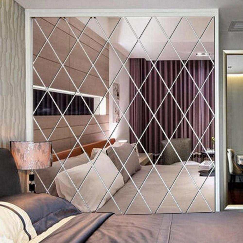 100*100CM Nordic Diamond Shape Wall Papers Mirror Sticker Acrylic Grid Wallpaper Roll 3D For Living Room Background Home Decor
