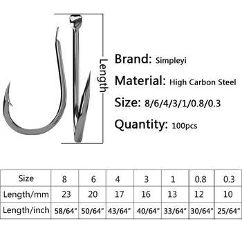 Super 100pcs/1box Fishing Hooks Set High Carbon Steel Fishhooks cb5feb1b7314637725a2e7: Size0.3 100pcs Size0.8 100pcs size1 100pcs size3 100pcs size4 100pcs size6 100pcs size8 100pcs
