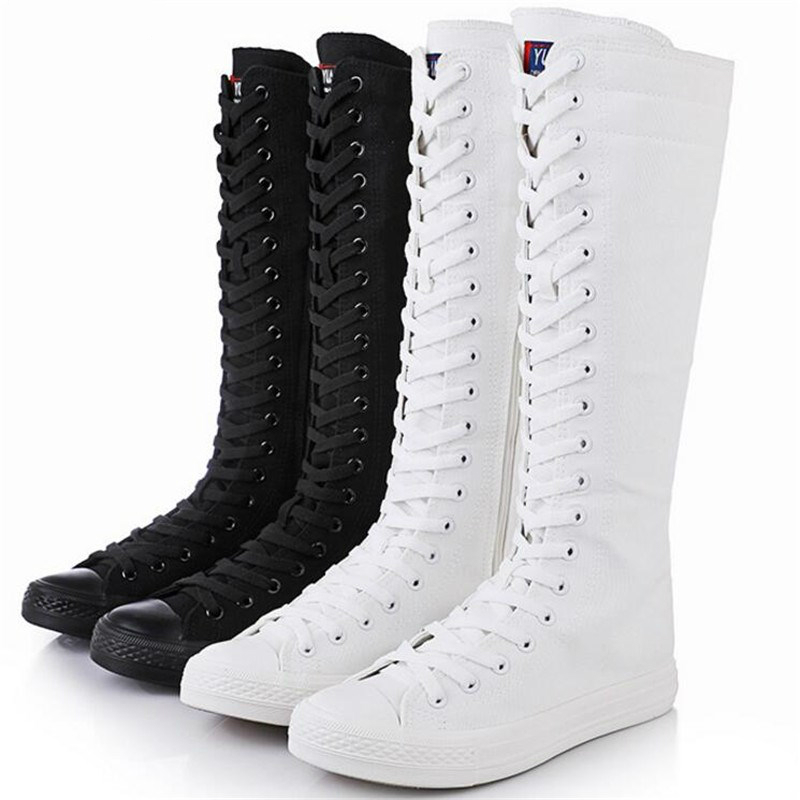 Women Canvas Boots Shoes Cross Tied Over The Knee Boots New Solid Color Thigh High Boots Female Casual Shoes Long Boots Size 43(China)