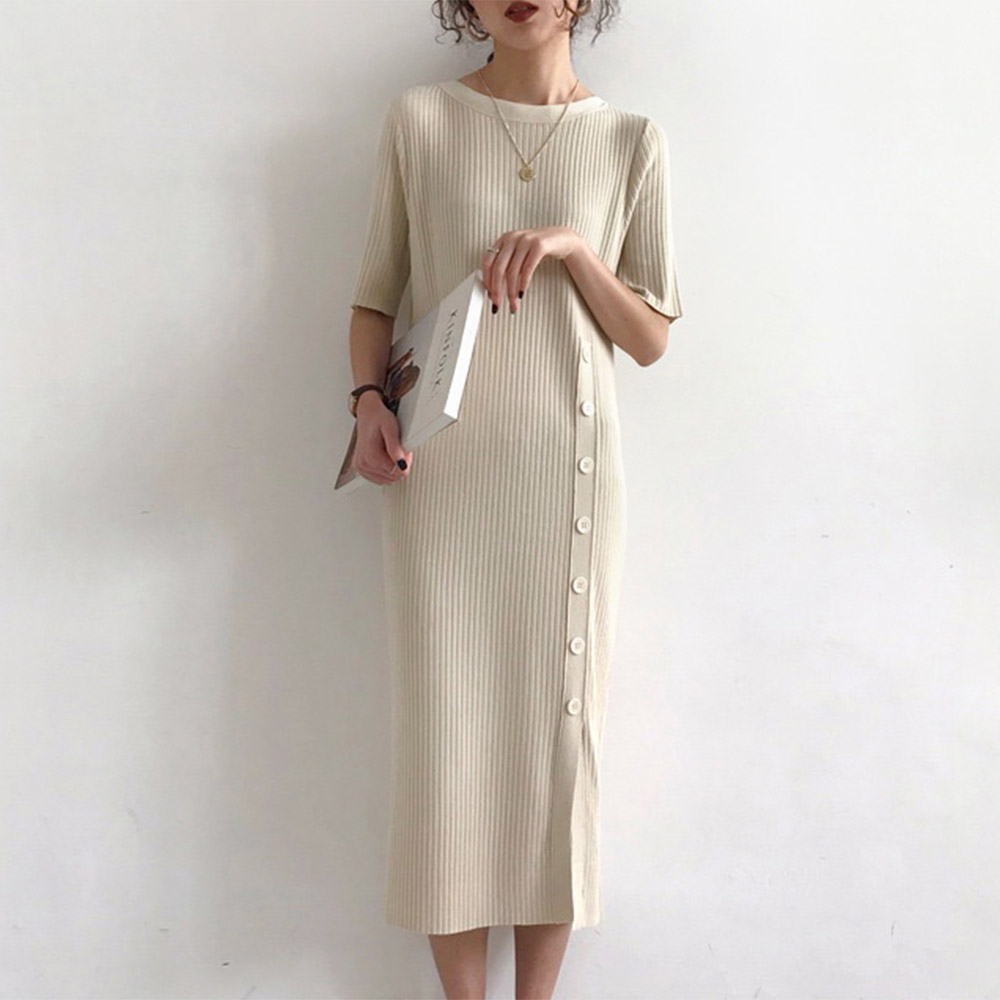 Summer Korean Knitted Sweater Dress Women Elegant Solid Beige Half Sleeve Bottons Slim Dresses Retro Preppy Style Minimalist