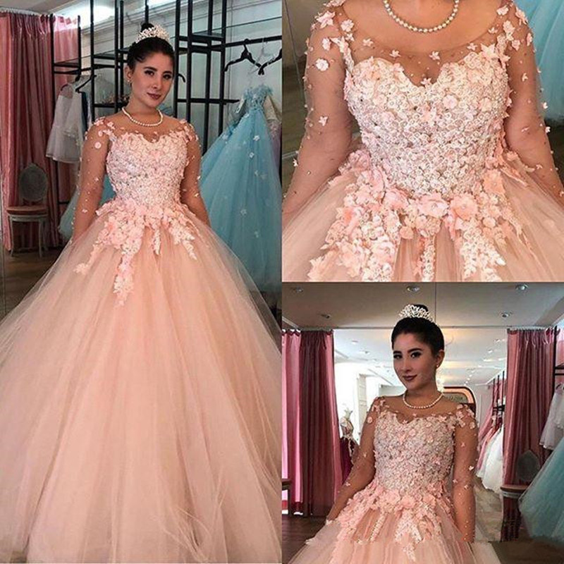 3D Lace Ball Gown Quinceanera Dresses 2020 Blush Pink Sheer Long Sleeves Plus Size Sweet 16 Dresses Debutante 15 Year Prom Dress