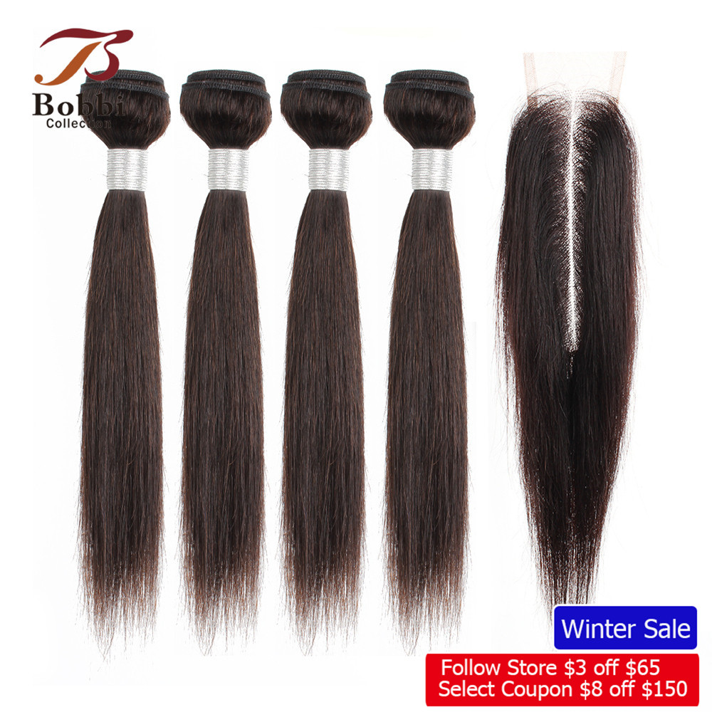 BOBBI COLLECTION 4/6 Bundles With Closure 50g/pc 2*6 Long Lace Closure Indian Straight Non-Remy Human Hair Short Bob Style