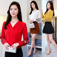 Korean Fashion Womens Chiffon Shirt Bow Tie Casual Loose Embroidered Blouse Tops