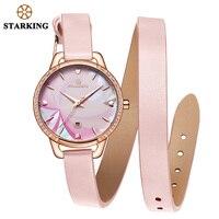 STARKING ساعة اليد ساعة امرأة أنيقة موضة النساء مصمم ساعة العلامة التجارية الشهيرة بسيطة السيدات هدية ساعة يد جلدية بيضاء