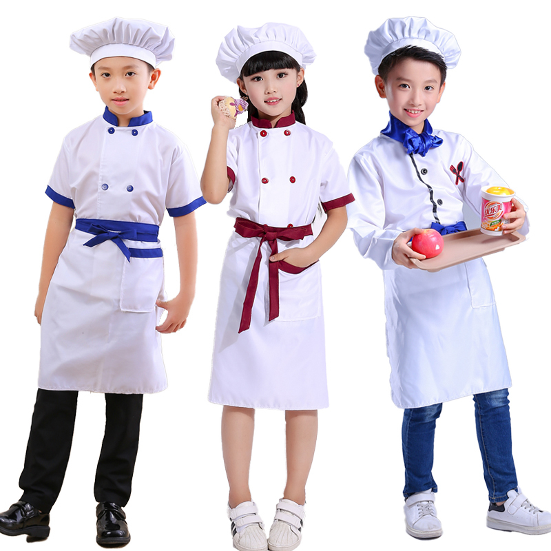 Children Chef Hat Cook Kitchen Uniform Halloween Kids Restaurant Waiter Catering Fancy Clothing Sets Baby Party Cosplay Costumes