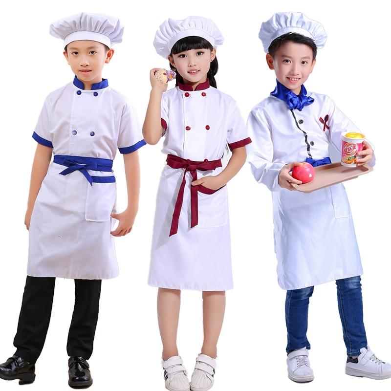 Children Chef Hat Cook Kitchen Uniform Halloween Kids Restaurant Waiter Catering Fancy Clothing Sets Baby Party Cosplay Costumes