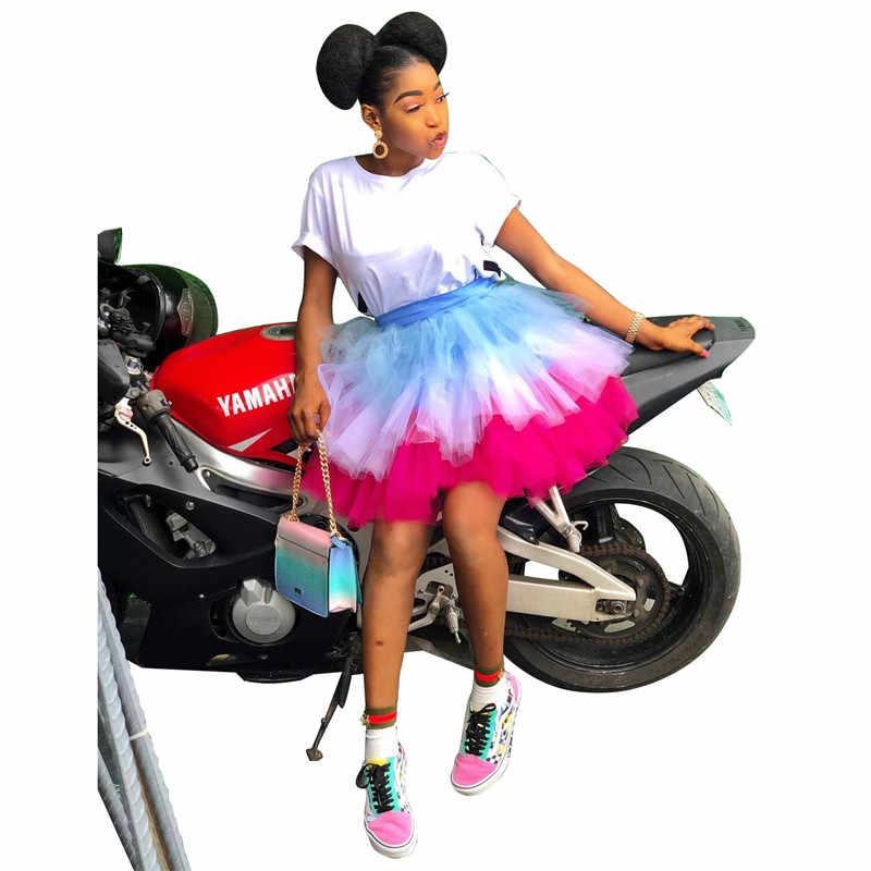 צבעוני שכבות טול קפלים טוטו חצאית לנשים לוליטה תחתונית גבוהה מותן בציר גבירותיי מסיבת כדור שמלת מיני חצאית ריקוד