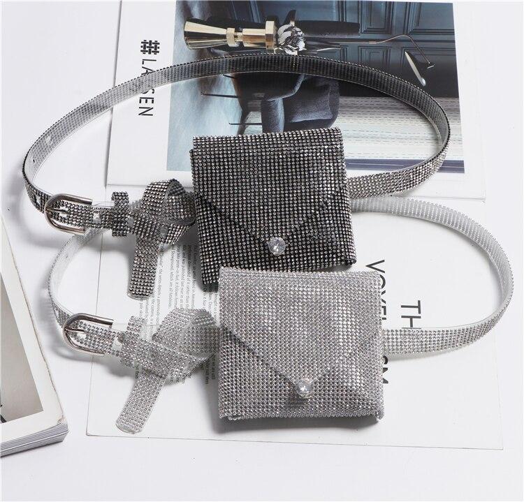 2019 Full Rhinestone Waist Packs PVC Transparent Crystal Waist Belt Bag Ladies Street Plastic Mini Fanny Pack For Money Coin