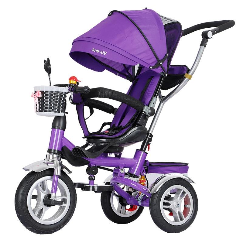 3 In 1 Foldable Children Tricycle Bike Baby Carriage Trolley Baby Stroller Pram Pushchair Three Wheels Folding Baby Buggies