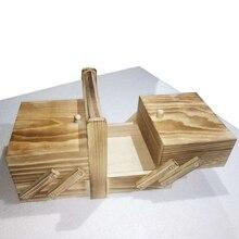 Caja de coser Vintage de viaje desgastado de almacenamiento de gran capacidad de múltiples capas de estuche cosmético hogar con asa organizador portátil de madera