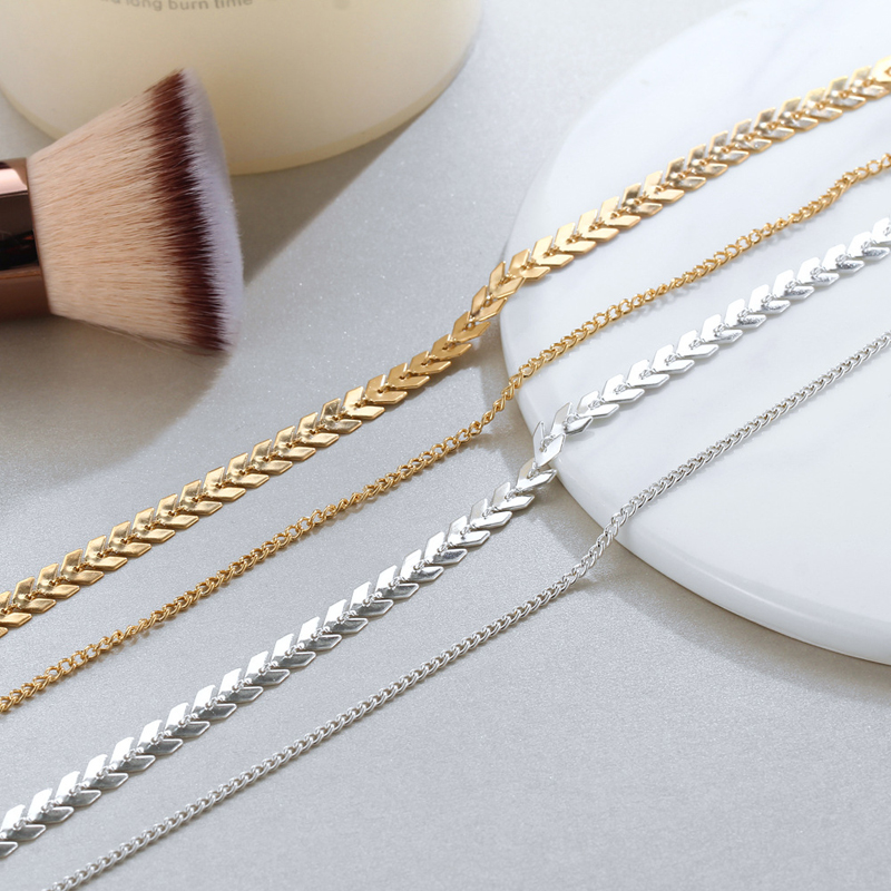 2019 New Chain Choker Two Layers Necklaces Fishbone Airplane Shape Gold Color Necklace Flat Chain jewelry 3