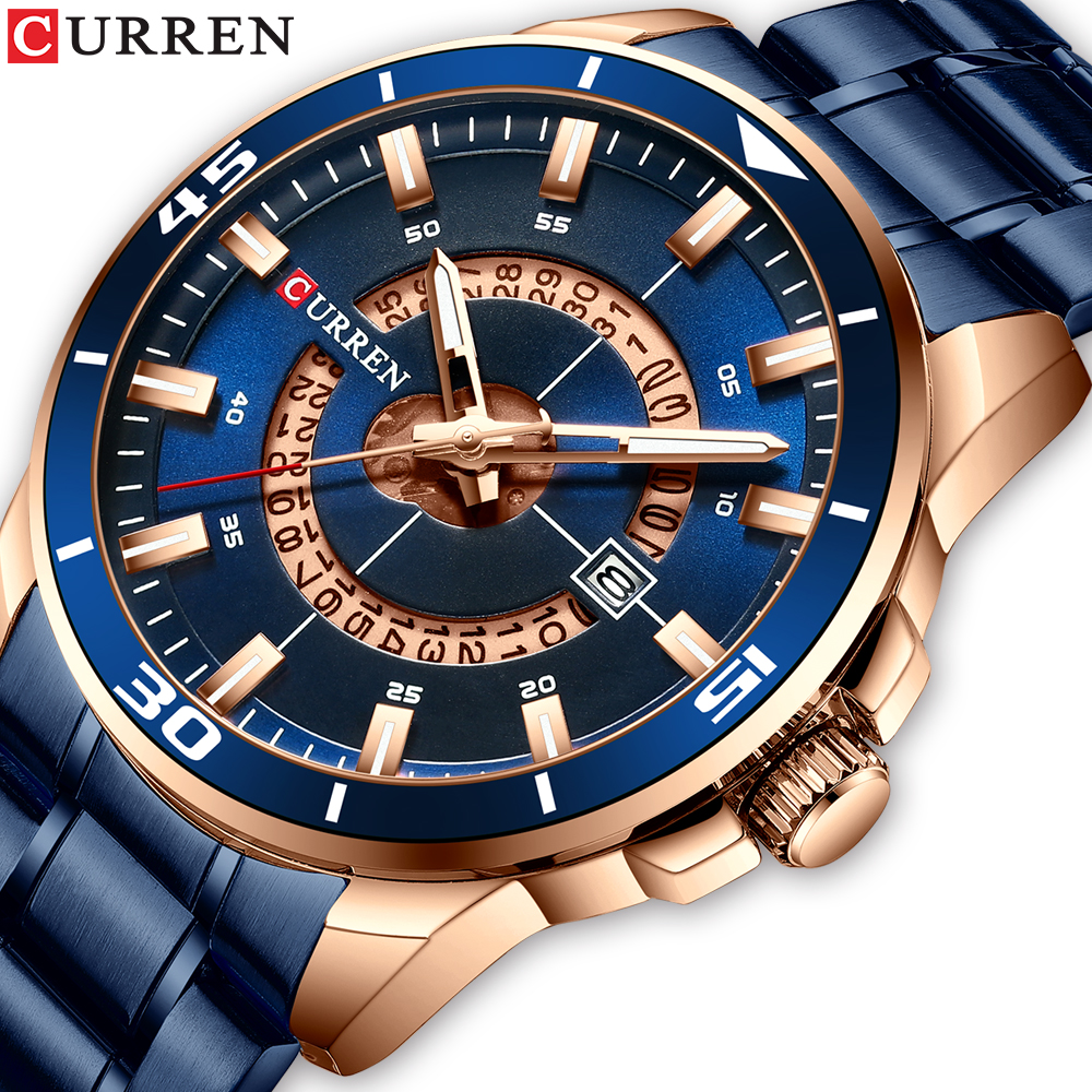 CURREN Men's Watch Blue Dial Stainless Steel Water Resistant Man Watches Luxury Business Analog Quartz Mens Watches Fashion