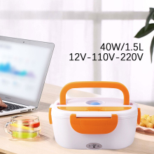 Electric Heated Portable Lunch Box 110/220V Car& Home Bento Box Heating Food Container 4 Buckles 1.5L Food Warmer EU/US Plug 1 5l 110 220v portable electric lunch box food grade bento lunch box heating food container 2 in 1 food warmer eu us car plug