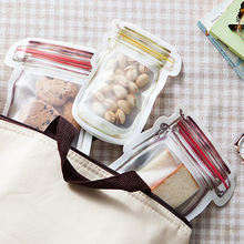 Reusable Mason Jar Bottles Bags Nuts Candy Cookies Bag Seal Fresh Food Storage Bag Snacks Zipper Sealed Kitchen Organizer