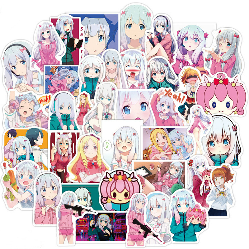 50 pçs anime eromanga sensei adesivos decalques kawaii izumi sagiri adesivo para computador portátil skate motocicleta diy anime amantes presentes Adesivos    -