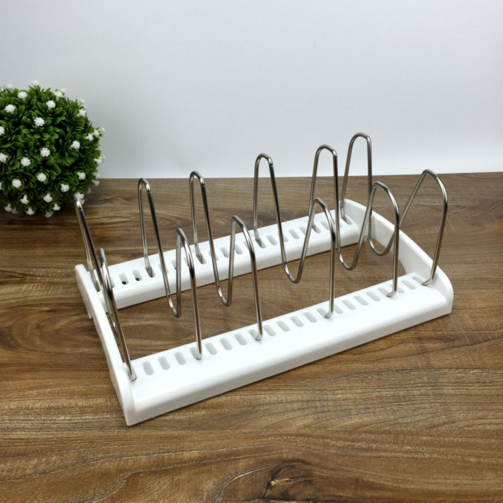 Stainless Steel Adjustable Pot Lid Rack Pan&Cutting Board Holder Stand Kitchen Organizer Dual Racks Chopping Board Shelf
