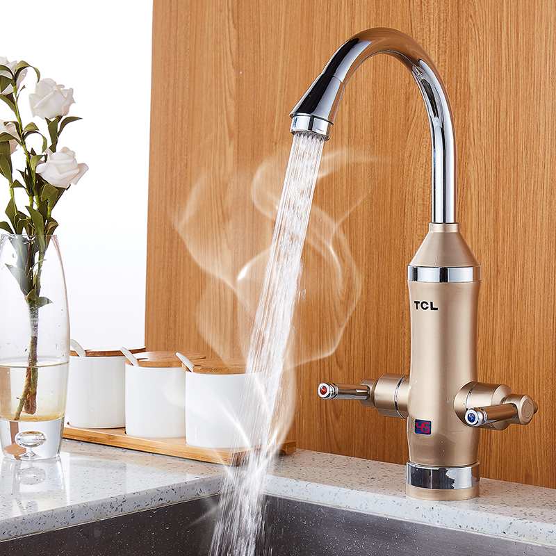 Kitchen Instant Water Heater Faucet LED Display Instrument Kitchen Speed Faucet Heating Tap Water Double Handle Rotatable