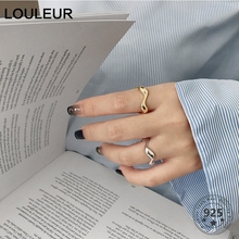 LouLeur Real 925 Sterling Silver Curve Open Rings Minimalist Irregular Gold Adjustable For Women Fashion Jewelry