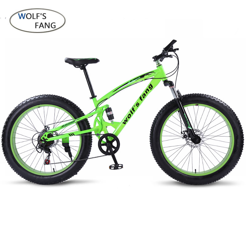 Wolf's Fang Bicycle Mountain Bike 7/21 Speed Fat  Bikes 26*4.0 Road Bike Snow Bike Full Shockingprllf Frame Male Free Delivery