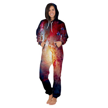 Jumpsuits Men Fashion Oversize Casual Bodysuit Personality Color Space Galaxy Print Hooded Coats New Streetwear For Men