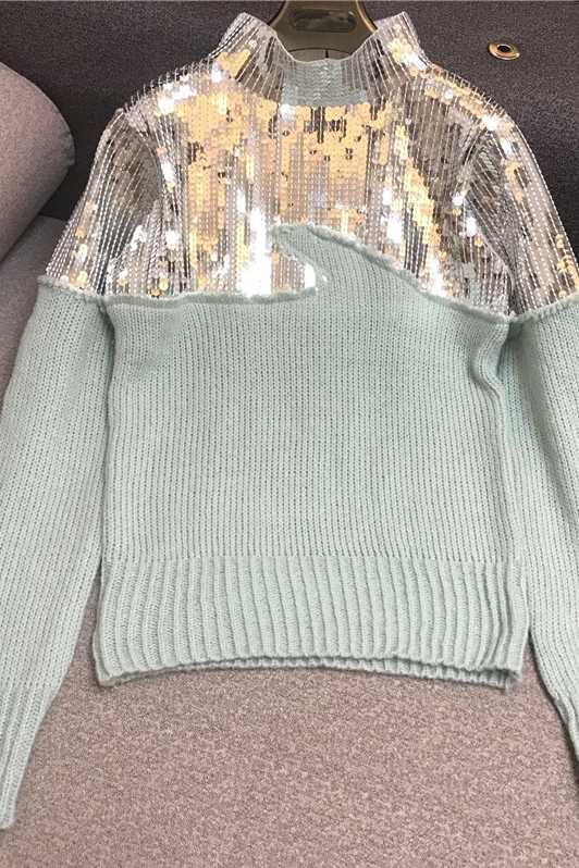 Neheavy, suéter con lentejuelas hechas a mano, Panel Mohair Peak, jersey verde, Top, suéter para mujer, Jersey, Jersey, señoras, Pull Nancylim