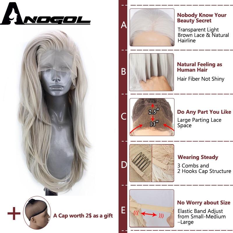 Anogol Synthetic Lace Front Wig Handmade Silver Grey Long Body Wave Peruca Laco Sintetico Heat Resistant Fiber Hair Women Wigs