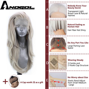 Image 4 - Anogol gümüş gri sentetik dantel ön peruk uzun doğal dalga peruk kadınlar için yüksek sıcaklık Fiber