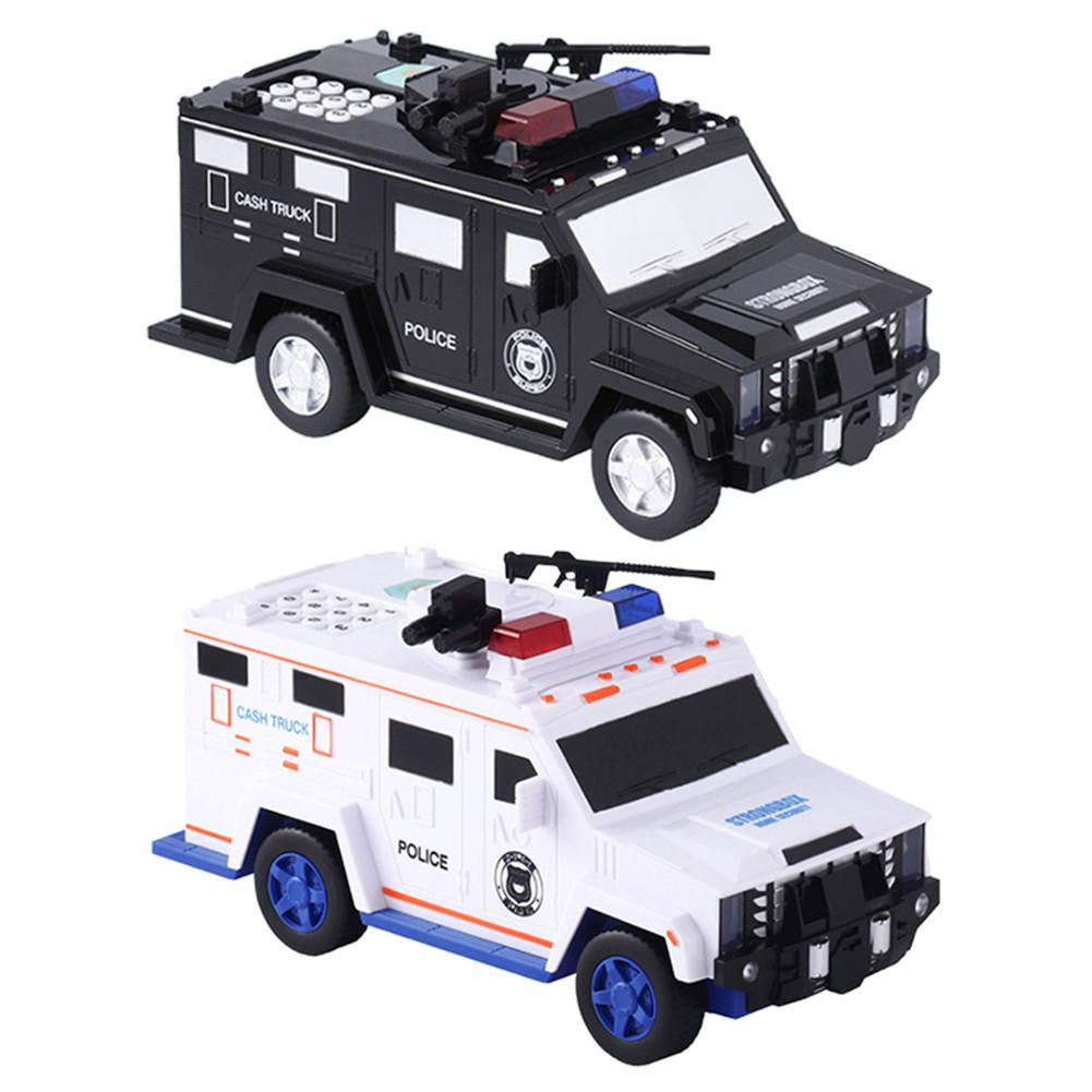 Multifunctional Car Piggy Bank Voice Switching Police Car Model Piggy Bank Kids Educational Toy Perfect Gifts