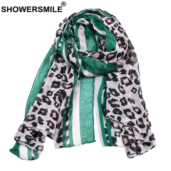 SHOWERSMILE Green Leopard Print Scarf Women Fashion Ladies Scarf Voile Female Long Scarves 180cm*90cm casual poppy print voile scarf