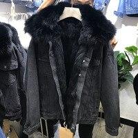 Fox Fur Collar Denim Jacket Women Thicken Warm Winter Coats Cotton Padded Jackets Detachable Rabbit Fur Liner Jean Parka Coats
