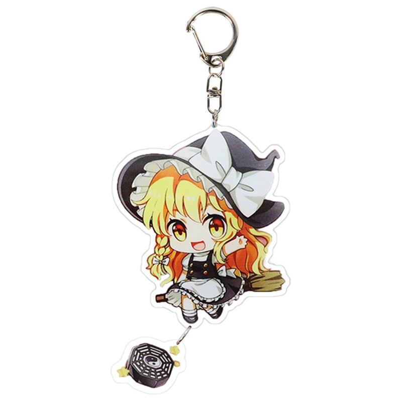 NEW Game TouHou Projec Keychain Cartoon Cosplay Key Chains Double Sided Transparent Acrylic Pendant Fans Jewelry Gift
