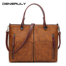 цена на 2019 Leather Tote Bags For Women Vintage Shoulder Bag Female High Capacity Causal Totes Luxury Brand Bag Soft Leather Bags Women
