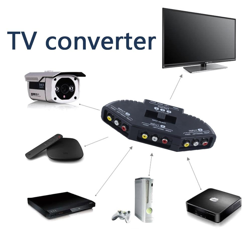 In 1 Out AV RCA Switch Splitter RCA Audio Video Switcher Converter With AV Cable