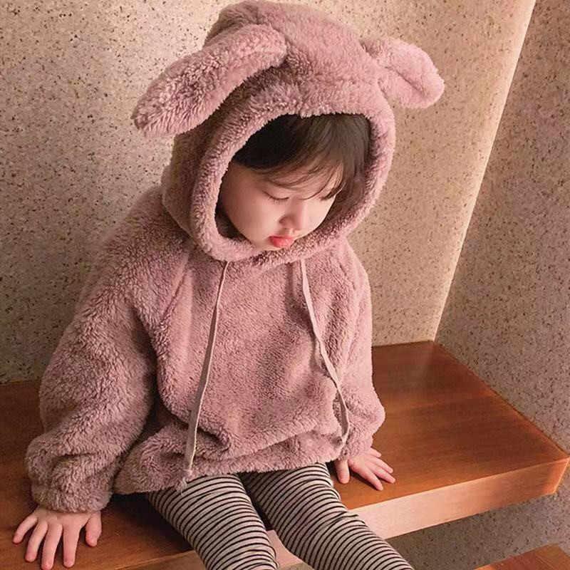 Baby Girls Kids Toddler Rabbit Winter Hooded Hoodies Coat Jacket Outwear Jumper