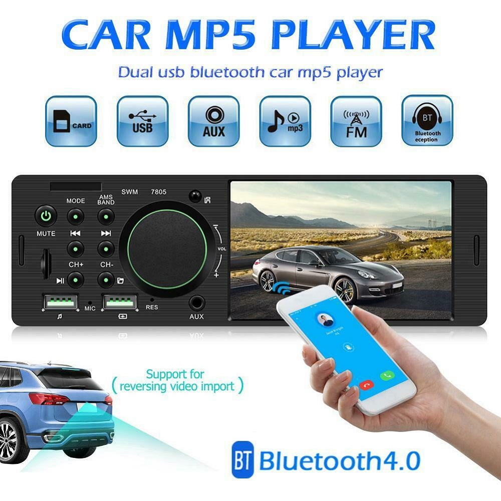4.1 Inch 1 DIN HD Radio Car MP5 MP3 Player Video Bluetooth FM Radio AUX USB Music Hands-free Call Touch Screen Stereo Hot