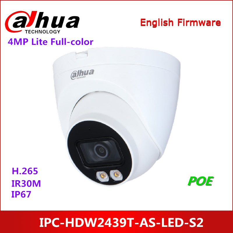 Dahua 4MP Lite Full-farbe Fest brenn Augapfel Netzwerk Kamera IPC-HDW2439T-AS-LED-S2 Gebaut-in warme lichter IP Kamera