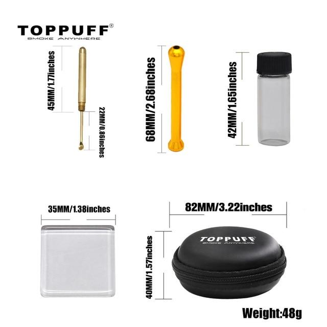 TOPPUFF Smoke Snuff Set Metal Snuff Straw Tube Sniffer + Brass Snuff Spoon + Pill Bottle + Glass Pane Pipe Smoking Accessories
