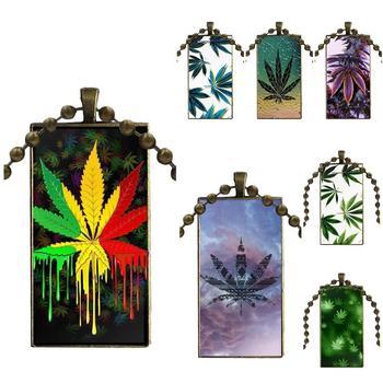 Para mujeres fiesta joyería cabujón de cristal Color bronce con gargantilla con colgante collar largo con dije de rectángulo 2018 hoja de marihuana Superme Weed