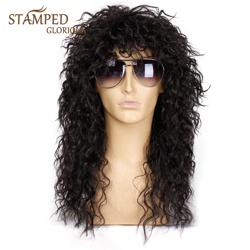 Stamped Glorious Men Wig Long Synthetic Wig Extension Hair Black Color Female Hairpiece Punk Puffy Headgear For Cosplay Wig