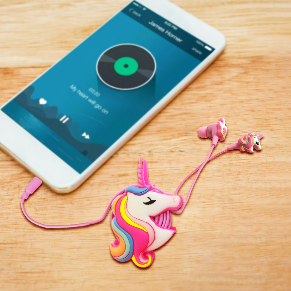 Colorful Unicorn Wired Headphones With Cable Organizer