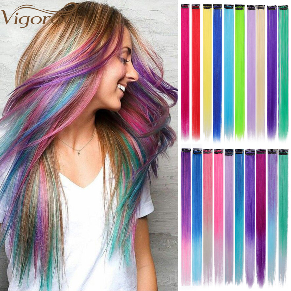Vigorous Long Straight Clip In One Piece Hair Extensions 20 Inch Synthetic Two Tone Fake Hair For Women Girls