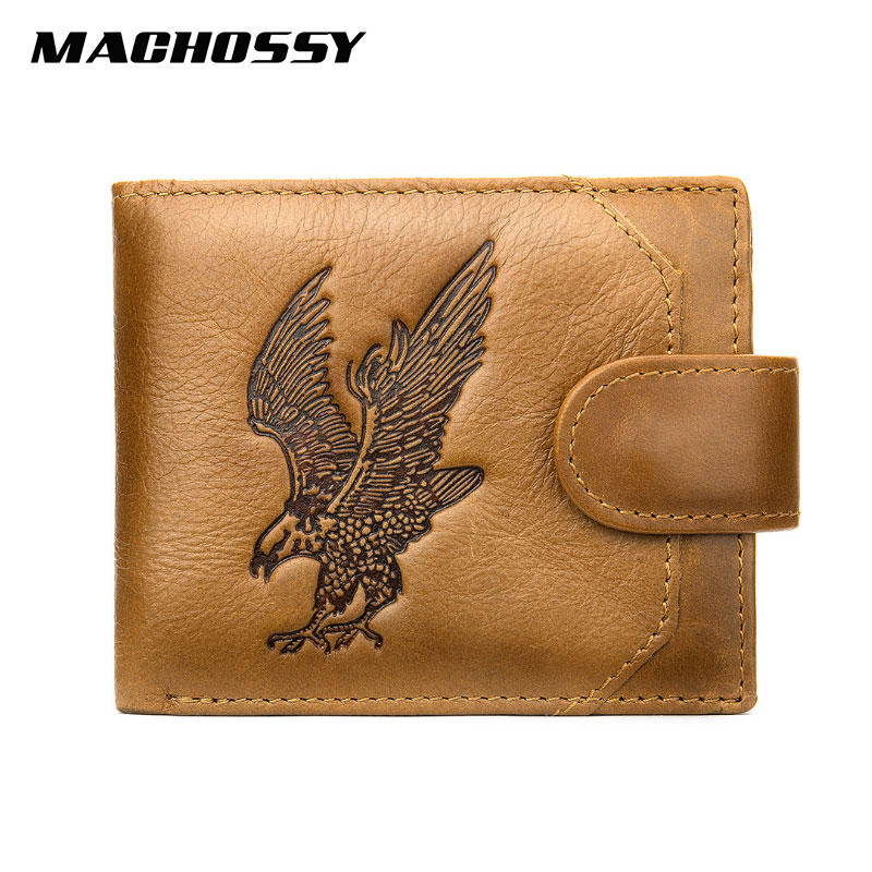 Classic Soft Genuine Leather Men Wallet Coin Purse Small Mini Card Holder Hasp Male Walet Coin Pocket Eagle Purse For Male
