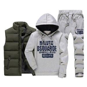 Image 2 - Inverno dei Nuovi Uomini di Set casual Felpe In Pile Caldo degli uomini Tuta Abbigliamento Sportivo Maglia Felpe + Pants 3PC Set Maschio tute di Stampa