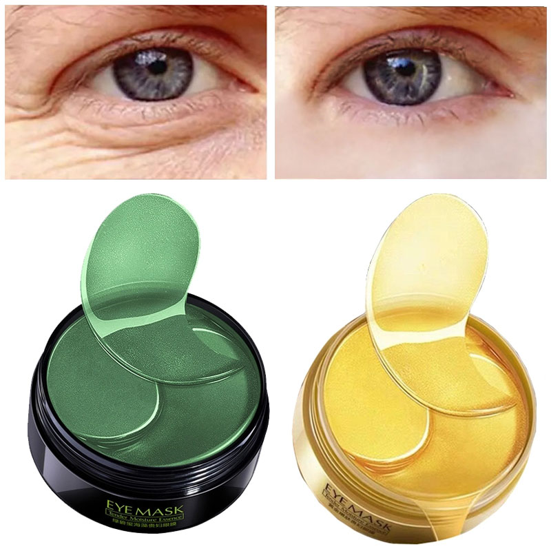 Collagen Eye Patches 60PCS Gold Green Anti Wrinkles Eyes Mask Dark Circles Bags Ageless Hydrogel Anti-Aging Korean For Patch P