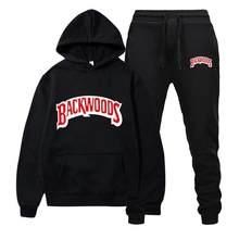 Marca de moda Backwoods, conjunto para hombre, pantalón con capucha de lana, chándal grueso y cálido, ropa deportiva con capucha