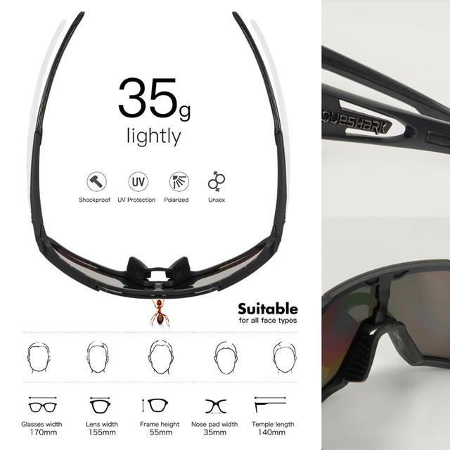 Queshark 2020 nova polarizada óculos de ciclismo para homem mulher bicicleta óculos ciclismo óculos de sol 3 lente espelhada uv400 mtb qe48 4
