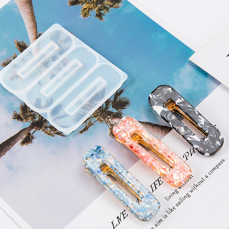 Xuebai Tocado de las mujeres DIY Conjunto de moldes de resina epoxi Molde de horquilla de silicona Moldes para hacer joyas de cabello para ni/ñas