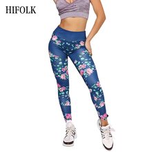 HIFOLK Classical Flower Printed Leggings for Women Blue Fitness Stretch Pants High Waist Skinny Trousers Polyester Leggings